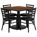 36'' Square Walnut Laminate Table Set with Ladder Back Metal Chair and Black Vinyl Seat, Seats 4 [REST-014-BK-WAL-FS-TDR]