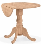 Solid Parawood 36'' Diameter Round Dual Drop Leaf Table - Unfinished [T-36DP-FS-WHT]