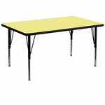 36''W x 72''L Rectangular Yellow Thermal Laminate Activity Table - Height Adjustable Short Legs [XU-A3672-REC-YEL-T-P-GG]