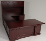 36 x 72 Wood Veneer Desk U-Group With Hutch in Mahogany Finish [9WS-6HMH-FS-FDG]