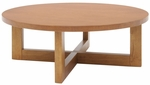 37'' Round Wooden Coffee Table with X Base - Oak [HWTC3713MO-FS-REG]