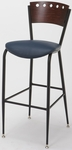 3818A Series Steel Frame Armless Cafe Barstool with Contoured Wood Design Back and 2'' Upholstered Seat [BR3818A-IFK]