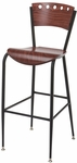 3818A Series Steel Frame Armless Cafe Barstool with Contoured Wood Design Back and Wood Seat - Mahogany [BR3818A-QS-ST19-IFK]