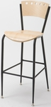 3818A Series Steel Frame Armless Cafe Barstool with Contoured Wood Design Back and Wood Seat - Natural [BR3818A-QS-ST16-IFK]