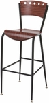 3818A Series Steel Frame Armless Cafe Barstool with Contoured Wood Design Back and Wood Seat [BR3818A-WOOD-IFK]
