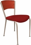 3800 Series Steel Frame Armless Cafe Chair with Contoured Solid Wood Back and 2'' Upholstered Seat [3818C-IFK]