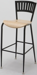 3818LA Series Steel Frame Armless Cafe Barstool with Contoured Slatted Metal Back and Wood Seat [BR3818LA-WOOD-IFK]