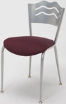 3800 Series Round Steel Frame Armless Cafe Chair with Contoured Wave Design Back and 2'' Upholstered Seat [3818LB-IFK]