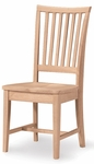 Mission Solid Parawood Armless Vertical Slat Back 39''H Side Chair - Set of 2 - Unfinished [265P-FS-WHT]
