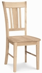 San Remo Solid Parawood Armless Slat-Back 39''H Dining Chair - Set of 2 - Unfinished [C-10P-FS-WHT]