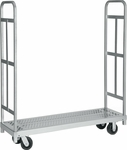 Narrow Tall End Steel Frame Truck with 2 Swivel Casters - 16''W x 54''D [3985-RPC]
