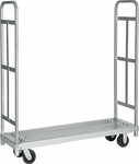 Narrow Tall End Steel Frame Truck with 4 Swivel Casters - 16''W x 54''D [3986-RPC]