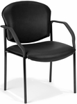Manor Anti-Microbial and Anti-Bacteria Vinyl Guest and Reception Chair with Arms - Black Vinyl [404-VAM-606-MFO]