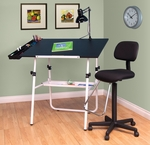 Ultima 4 Piece Drafting Desk Set includes Lamp and Maxima II Drafting Chair - White [19646-FS-SDI]