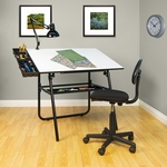 Ultima 4 Piece Drafting Table Set includes Drafting Chair and Storage Trays - Black [32609-FS-SDI]