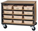 4-Shelf Tote Tray Mobile Storage [2072-O-IRO]