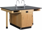 4 Station Wooden Science Center with 1'' Thick Black Epoxy Resin Top and Locking Cabinets - 66''W x 48''D x 36''H [C2616K-DW]