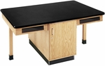 4 Station Wooden Science Table with 1.25'' Thick Black Plastic Laminate Top, Book Storage Compartments, and Locking Cabinet - 66''W x 42''D x 30''D [C2301K-DW]