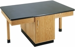 4 Station Wooden Science Table with 1'' Thick Black Phenolic Resin Top and Locking Cabinet - 66''W x 42''D x 30''H [2304K-DW]