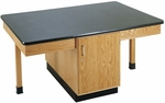 4 Station Wooden Science Table with 1'' Thick Black Epoxy Resin Top and Locking Cabinet - 66''W x 42''D x 30''H [2306K-DW]