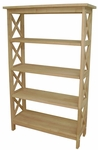 X-Sided 4 Tier Solid Parawood 30''W X 48''H Shelf Unit - Unfinished [SH-4830X-FS-WHT]