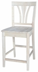 Traditional Solid Parawood 40''H Counter Height Stool with Fan Back - Unfinished [S-9182-FS-WHT]