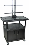 Extra Large Adjustable Height Steel Mobile TV Cart with LCD Mount and Locking Cabinet - Black - 42''W x 24''D x 57.5''H [LE40CWTUD-B-FS-LUX]