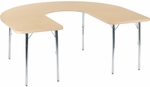 4000 Series Deep-Center Horseshoe Top Laminate Activity Table with Chrome Legs - 60''W x 66''D x 22''H - 30''H [48HORSE60DCCHRM-VCO]