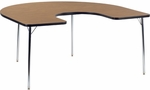 4000 Series Horseshoe Top Laminate Activity Table with Fixed Height Chrome Legs - 60''W x 66''D x 30''H [48HORSE60N-VCO]