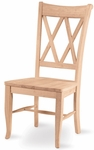 Solid Parawood Armless Double X-Back 41''H Dining Chair - Set of 2 - Unfinished [C-20P-FS-WHT]