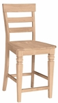 Java Classic Solid Parawood 24''H Counter Height Stool with Ladder Back- Unfinished [S-192-FS-WHT]