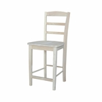 Madrid Solid Parawood 41''H Counter Height Stool with Ladder Back - Unfinished [S-402-FS-WHT]