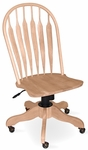 Windsor Solid Parawood Steam Bent 42''H Rolling Chair - Unfinished [KCB-1-TOP-1206-FS-WHT]