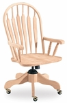 Windsor Solid Parawood Steam Bent 42''H Rolling Chair with Arms - Unfinished [KCB-1-TOP-1209-FS-WHT]