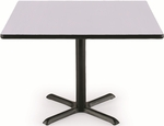 42'' Square Laminate Pedestal Table with Grey Nebula Top - Black X-Base [T42SQ-B2025-GN-IFK]