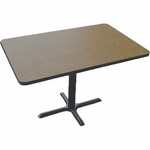 Laminate Top Rectangular Cafe Table with Cast Iron X-Base - 30''D x 42''W [BCT3042-CRL]