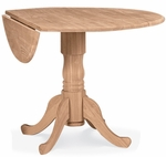 Solid Parawood 42'' Diameter Round Dual Drop Leaf Table - Unfinished [T-42DP-FS-WHT]