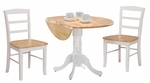 Solid Wood 3 Piece Dual Drop Leaf Table with 2 Ladder Back Dining Chairs - White and Natural [K02-42DP-C2P-2-FS-WHT]