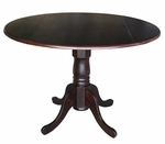 Solid Wood 42'' Diameter Round Pedestal Dining Table with 9'' Dual Drop Leaves - Mocha [T15-42DP-FS-WHT]