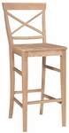 Classic Solid Parawood 45''H Bar Stool with X Back - Unfinished [S-6133-FS-WHT]