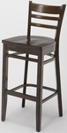 4500 Series Hardwood Frame Armless Cafe Barstool with Ladder Back and Wood Seat [BR4505-WOOD-IFK]