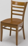 4500 Series Wood Frame Armless Cafe Chair with Contoured Ladder Back and Wood Seat [4505-WOOD-IFK]