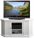 Riley Holliday 46.75''W x 24.25''H Solid Hardwood Corner TV Stand with Glass Door and Adjustable Center Shelf - White [85285-FS-LCK]