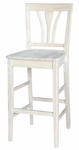 Traditional Solid Parawood 46''H Bar Stool with Fan Back - Unfinished [S-9183-FS-WHT]