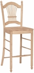 Sheaf Back Solid Parawood 47''H Bar Stool - Unfinished [S-163-FS-WHT]