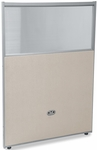 RiZe 47'' H x 31'' W Poly Panel With Translucent Tops and Gray Frame - Beige Vinyl [PG4731-GF-BV-MFO]