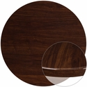 48'' Round High-Gloss Walnut Resin Table Top with 2'' Thick Edge