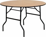 48'' Round Wood Folding Banquet Table with Clear Coated Finished Top [YT-WRFT48-TBL-GG]