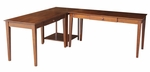 Solid Wood 3 Piece 48''W and 60''W Home Office Desks with Connecting Table - Espresso [K-581-41-42-63-FS-WHT]
