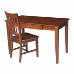 Solid Wood 2 Piece 48''W Home Office Desk Set with Drawer and Armless Chair - Espresso [K-581-41-10-FS-WHT]